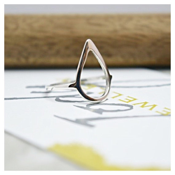 925 Sterling Silver Pear Shaped Ring, gift for her