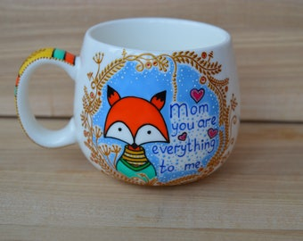 Mothers day gift Mug for mom Cute fox coffee mug I love you mom Personalized gift for mom Mothers day mug Mom gifts