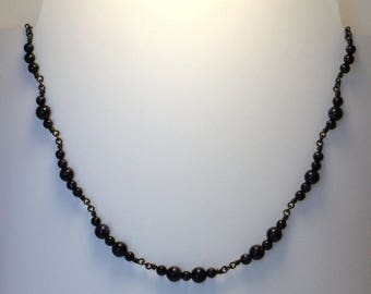 """""""Clusters"""" sand/copper black stone necklace"""