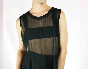 Vintage Black Sheer Slit Dress Tunic Size Medium