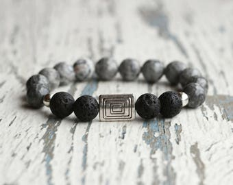 Mens jewelry son gift for him grey bracelet beaded bracelet gemstone marble father guys bracelet Mens accessories 10 mm beads brother gift
