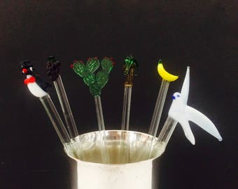 Vibrant Glass Swizzle Sticks, Sold Separately; Featuring Penguin, Bird, Cactus, Palm Tree, Grapes, Banana; Vintage Barware