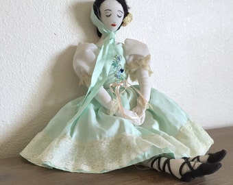 Vintage Rag Doll; Primitive Doll; French Rag Doll; Cloth Doll; Handmade Rag Doll; Antique Rag Doll; Folk Art Doll; Fabric Doll; Vintage Doll