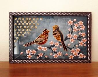 Cherry blossom art Bird art Original painting Glass painting Wall decor Painted glass Wall art