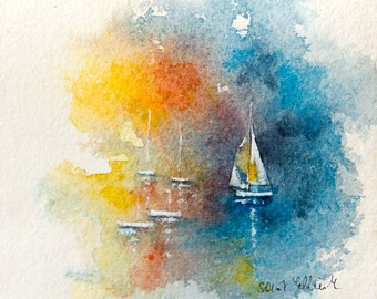 "Original sea watercolor, ship watercolor, sunset watercolor,boats watercolor, ship original painting, sea Watercolour,  7,87"" x 7,87"""