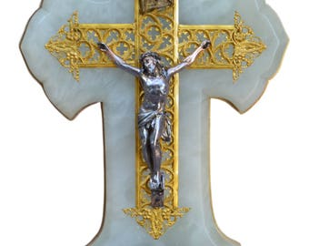 Large French Antique Holy Water Font - Religious Wall Hanging Cross Benitier - White Marble and Golden Brass - 19th.c -  Cross