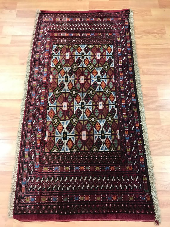 "1'8"" x 3'4"" Persian Turkeman Oriental Rug - 1960s - Hand Made - 100% Wool"