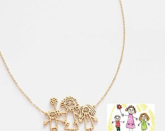 Your Childs Art Necklace - Kids Drawing Jewelry - Custom Children Artwork Necklace - Kid Art Gift - Personalized Child Art - Mom Gift - HN01