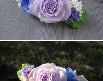 Rustic wedding hair vine Light purple flower hair accessory wedding hairpiece Flower hair clip Wedding comb  Floral hair comb bridal flower