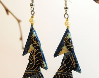"""Triangles blue and leaves Nocturnes"" origami earrings"