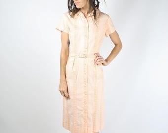 1960s Beaumart Wiggle Dress, Apricot cotton embroidered belted Shirtwaist dress, Medium 3878