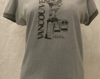 "Vintage 1980s ringer style t-shirt ""Vancouver-Birks Clock Granville Mall"" size M/L"