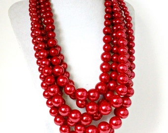 Red Pearl Necklace, Multi Strand Pearl, Bib Pearl Necklace, Statement Necklace Red, Red Pearl Jewelry, Bridesmaid Gift, Wedding Necklace