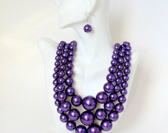 Purple Pearl Necklace, Big Chunky Pearl Necklace, Multi Strand Statement Necklace, Bib Necklace