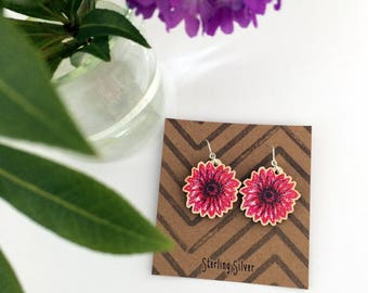 Pink Gerbera Earrings, wooden charm jewellery with Sterling Silver hooks, unique colourful floral gift for girlfriend, sister, teacher, mum
