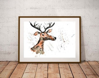 SALE stag watercolour painting, stag print, deer, stag watercolour, painting, woodland art, deer painting