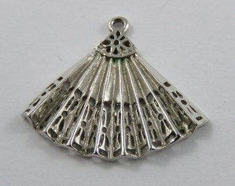 Spanish Fan Sterling Silver Charm or Pendant.