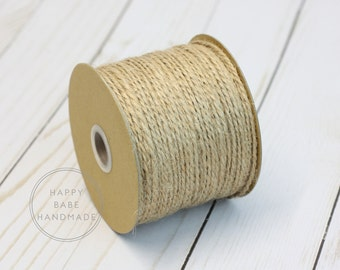 Natural Twine, 25 Yards, 1.5MM, Jute Twine, Brown Twine, Brown String, Twine Gift Wrap, Country Western Wedding, Natural Packaging