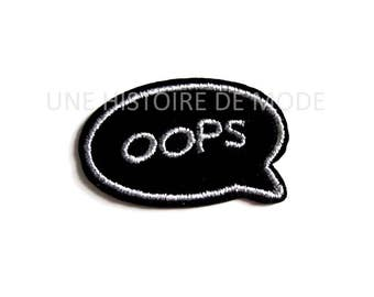 "Patch , écusson thermocollant Bande dessinée "" OOPS ""  55 x 35 mm"