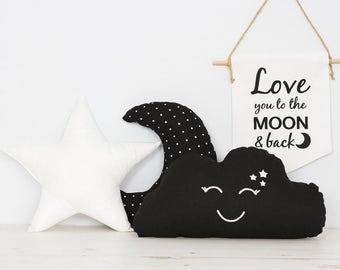 Black and White Set of 3 Pillows kids room decor Star Cushion, Moon Cushion and Smiling Cloud cushion