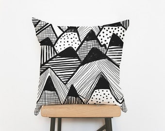 Mountains pillow cover woodland nursery decor cushion cover, handmade decorative black white mountain pillow, kids pillow, throw pillow,
