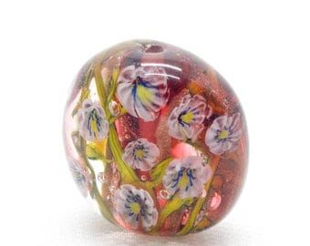Flower Art - Meditation Beads - Sra Beads - Lampwork Focal Bead - Lampwork Beads - Floral Jewelry - Artisan Glass Beads - Glass Pendant