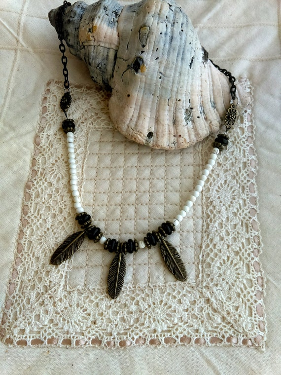 Stylish Tribal Black Iron Chain Necklace, Bronze Beads, Bronze Feather Charms Beads, Black Glass Beads, White Turquoise Beads