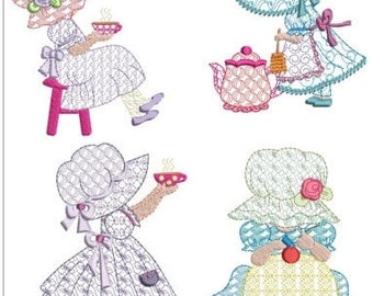 "Sunbonnet sue 4 pack design machine embroidery download( 5x7"")pes"