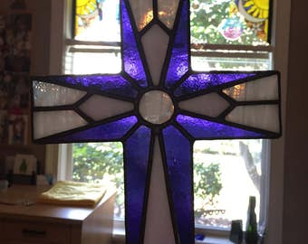 Stained Glass Cross Purple White Religious Suncatcher Home Decor
