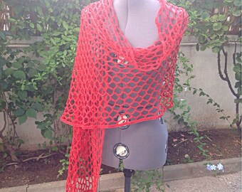 Shawl made in Cintalan, 100% cotton. Orange color. Ideal for halftime.