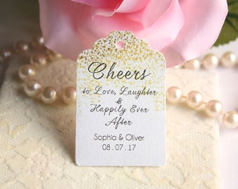 20 Cheers to Love, Laughter & Happily Ever After Wedding Favor Tags, Cheers to Love Wedding Tags, Gold or Silver Glitter - Set of 20
