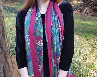 Vintage Perry Ellis Floral Silk Scarf