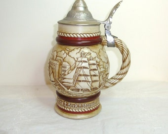 Vintage Avon Stein.Avon collectable.  Made in Brazil, Ceramarte, 1977 # 413662. Tall ships, Schooners, Bark Staysail and Jib Headed ketch