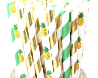 Pineapple party straws mix- pineapple party straws, hawaiian themed party, luau party, summer wedding straws, summer party straws, tropical