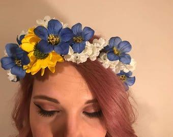Summer Goddess, flower crown, flower Tiara, hair accessory, floral,  wedding