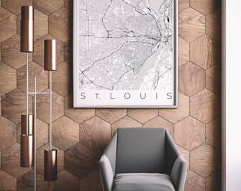 Mapa de St. Louis, Missouri - mapa arte - St. Louis cartel - Decor - arte escandinavo - viajes Ver mapa - San Luis viajes Poster