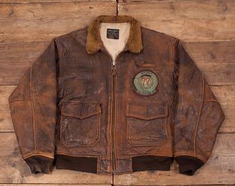 """Mens Vintage Avirex G1 US Navy Flight Jacket Fur Collar Brown 48"""" XL R5451"""