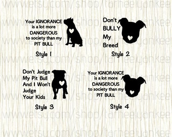 Pit bull Car Decal, Pit bull Decal, Pitbull, Don't Bully My Breed Decal, Ignorance Decal, Don't Judge My Pit Bull Decal, Bully Decal, Pitty
