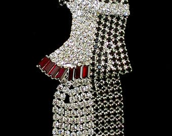 Large Brooch Dancing Couple Pave Rhinestones Clear Black Round, Red Baguettes, Silver Tone, Movable Dangling Legs