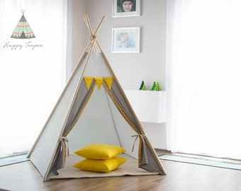 Teepee with strips, handmade indian teepee, kids play, tent, tipi, wigwam