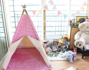 Canvas Teepee in Pink Checks- Tipi