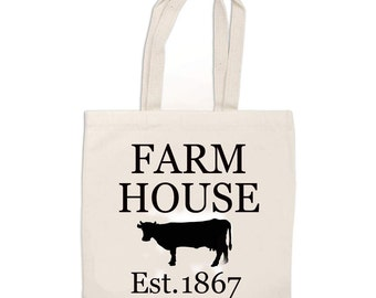 Farmhouse TOTE BAG/ Farmhouse Cow Tote Bag -- Farmhouse Inspired -- Fixer Upper Style