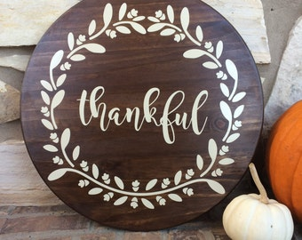 Thankful Wreath Wooden Tray or Lazy Susan