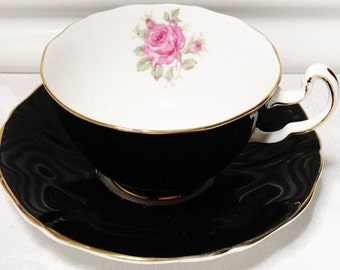 Vintage Adderly Tea Cup and Saucer, Bone China, England, Black Tea Cup, Roses