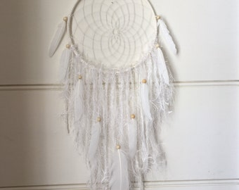MADE TO ORDER White Dreamcatcher with feathers, White Wall Hanging, Boho Style Wall Hanging
