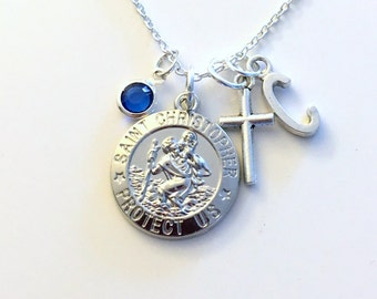 St. Christopher Necklace, Silver New Driver Jewelry Gift For Safety Safe Charm Cross Pendant Religious symbol Birthstone Initial letter girl
