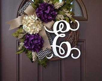 Spring Wreath for Front Door -Everyday Front Door Monogram Wreath - Summer Cream and Purple Hydrangea Wreath -Front Door Decor -Rustic Decor