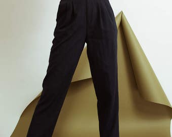 Rad Navy  Pleated Trousers / S / 90s hipster secretary pants blue with pockets high waisted tapered minimalist pants retro