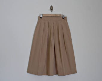 Vintage 70s A-line beige high waist pleated midi skirt // Size S