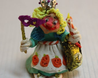 Dollhouse Miniature Handmade Clay Halloween Princess Trick-or-Treat Character Doll (1/12 & 1/24 Scales)